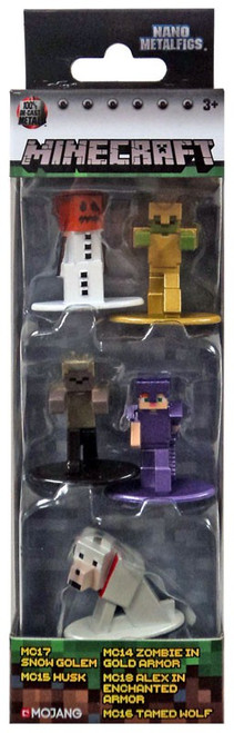 Minecraft Snow Golem, Husk, Zombie in Gold Armor, Aled in Enchanted Armor & Tamed Wolf Diecast Figure 5-Pack