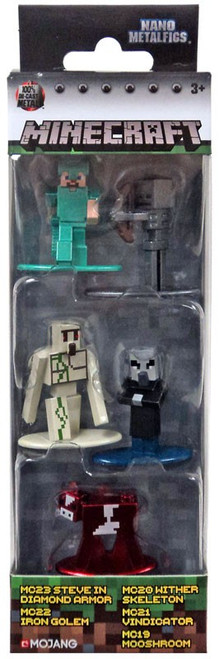 Minecraft Nano Metalfigs Steve in Diamond Armor, Iron Golem, Wither Skeleton, Vindicator & Mooshroom Diecast Figure 5-Pack