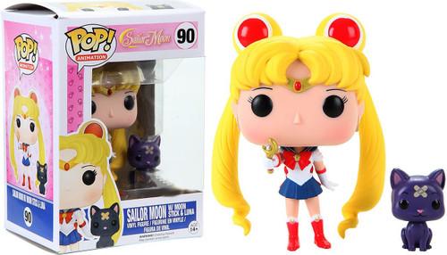 Funko POP! Animation Sailor Moon with Moon Stick & Luna Exclusive Vinyl Figure #90 [Damaged Package]