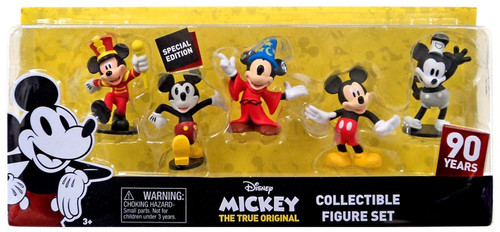 Disney Mickey the True Original 90 Years of Magic Mickey Mouse 3-Inch Figure 5-Pack [Mouseketeer, Technicolor, Sorcerer's Apprentice, Clubhouse Mickey & Steamboat Willie]