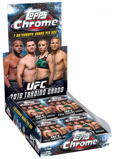 UFC Ultimate Fighting Championship 2018 Chrome Trading Card HOBBY Box [24 Packs, 2 Autographs!]