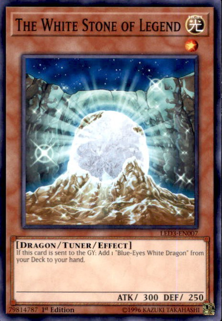 YuGiOh White Dragon Abyss Common The White Stone of Legend LED3-EN007