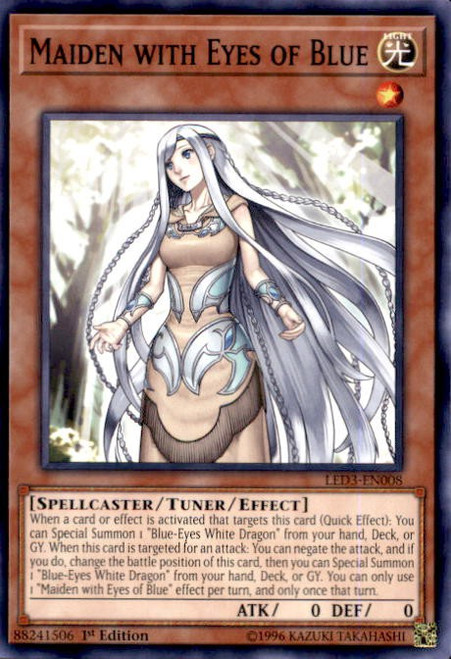 YuGiOh White Dragon Abyss Common Maiden with Eyes of Blue LED3-EN008