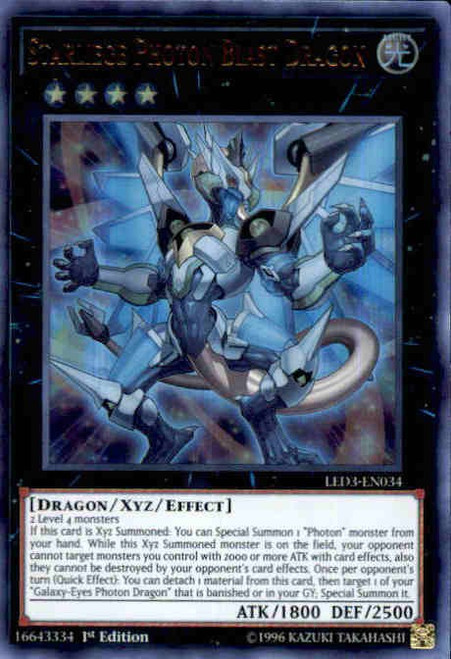 YuGiOh White Dragon Abyss Ultra Rare Starliege Photon Blast Dragon LED3-EN034