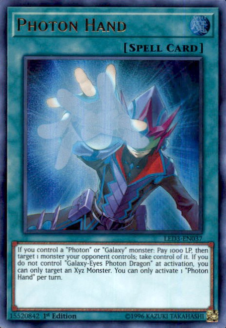 YuGiOh White Dragon Abyss Ultra Rare Photon Hand LED3-EN037