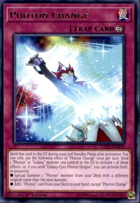 YuGiOh White Dragon Abyss Rare Photon Change LED3-EN038