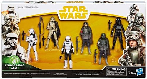 Star Wars Force Link 2.0 Tie Fighter Pilot, Stormtrooper Squad Leader, Han Solo, Mudtrooper, Stormtrooper (Mimban) & Imperial Patrol Trooper Exclusive Action Figure 6-Pack