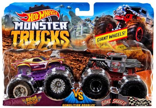 Hot Wheels Monster Trucks Demolition Doubles Rodger Dodger vs. Bone Shaker Diecast Car 2-Pack