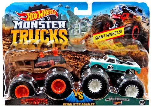 Hot Wheels Monster Trucks Demolition Doubles Loco Punk vs. Pure Muscle Diecast Car 2-Pack
