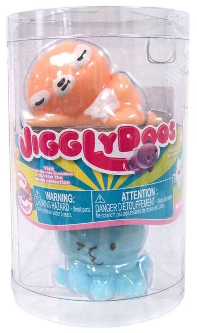 JigglyDoos Series 3 Orange Sloth & Blue Octopus Squeeze Toy 2-Pack