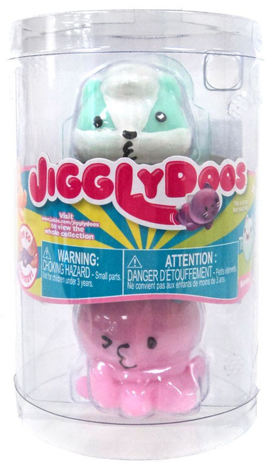 JigglyDoos Series 3 Green Skunk & Pink Octopus Squeeze Toy 2-Pack