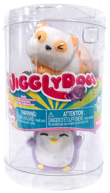 JigglyDoos Series 3 Orange Panda & Purple Penguin Squeeze Toy 2-Pack