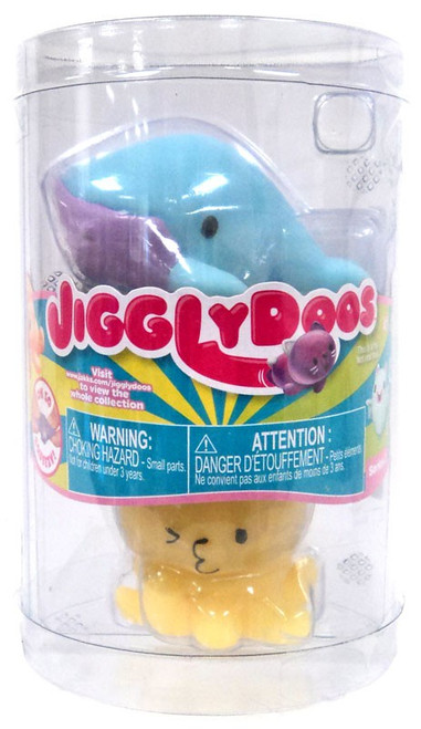 JigglyDoos Series 3 Blue Whale & Yellow Octopus Squeeze Toy 2-Pack