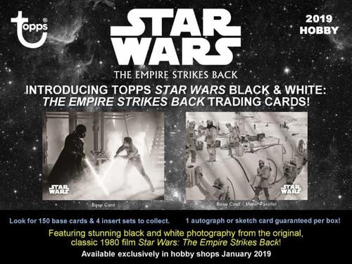 Star Wars The Empire Strikes Back 2019 Black & White Trading Card HOBBY Box [7 Packs]