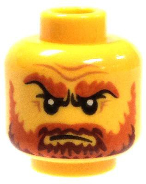 Angry Male with Dark Orange Beard and Eyebrows with Wrinkles Minifigure Head [Yellow Loose]