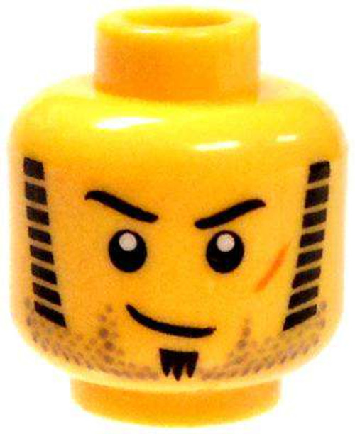 Sideburns, Stubble, Soul Patch & Scar Minifigure Head [Yellow Male Loose]