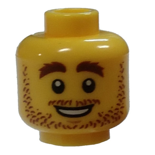 Stubble, Brown Eyebrows, White Pupils, Open Smile Minifigure Head [Loose]