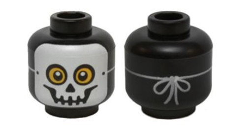 Skull Mask with Yellow Eyes and String Tied in Back Minifigure Head [Loose]
