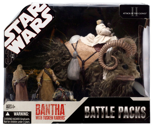 Star Wars Attack of the Clones Battle Packs 2007 Bantha with Tusken Raiders Exclusive Action Figure Set [Light Fur]