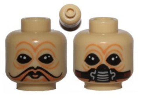 Star Wars Tan Ten Numb No Mask / Breathing Mask Minifigure Head [Dual-Sided Loose]