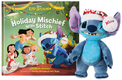 Disney Lilo & Stitch Stitch Poseable Plush & ''Holiday Mischief with Stitch'' Exclusive 8-Inch Book Set