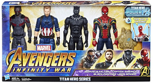 Marvel Avengers Infinity War Titan Hero Series Power FX Falcon, Captain America, Black Panther & Spider-Man Action Figure 4-Pack