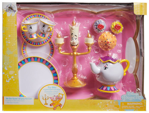 """Disney Princess Beauty and the Beast """"Be Our Guest"""" Singing Tea Cart Exclusive Playset [2018]"""