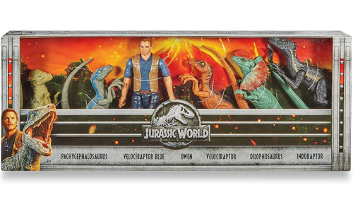 Jurassic World Fallen Kingdom Pachycephalosaurus, Blue, Owen, Velociraptor, Dilophosaurus & Indoraptor Exclusive Action Figure 6-Pack