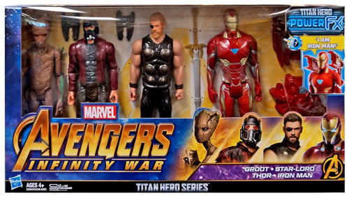 Marvel Avengers Infinity War Titan Hero Series Power FX Groot, Star-Lord, Thor & Iron Man Exclusive Action Figure 4-Pack
