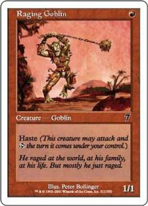MtG 7th Edition Common Foil Raging Goblin #211 [Played]