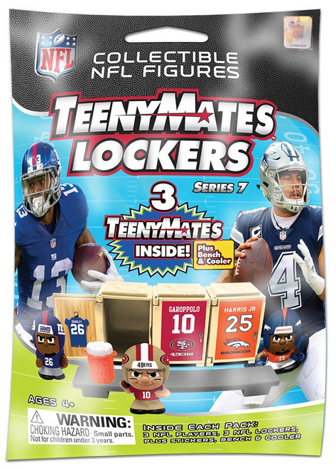 NFL TeenyMates Football Series 7 LOCKERS Pack [3 Figures, 3 Lockers, Plus Stickers, Bench & Cooler!]