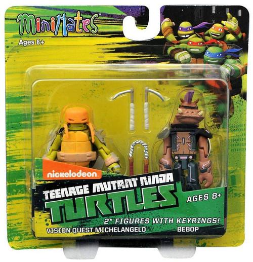 Teenage Mutant Ninja Turtles Nickelodeon Minimates Vision Quest Michelangelo & Bebop 2-Inch Minimates Keychains