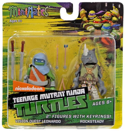 Teenage Mutant Ninja Turtles Nickelodeon Minimates Vision Quest Leonardo & Rocksteady 2-Inch Minimates Keychains