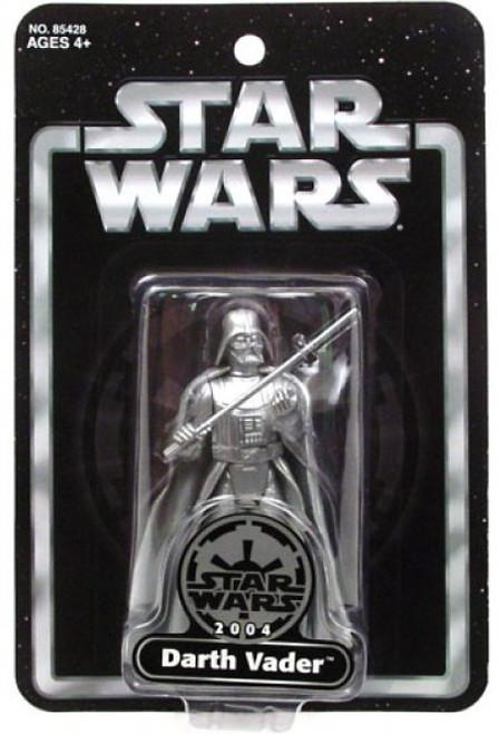 Star Wars Saga 2004 Silver Darth Vader Exclusive Action Figure