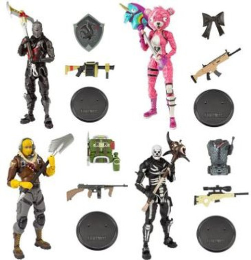McFarlane Toys Fortnite Premium Series 1 Raptor, Cuddle Team Leader, Black Knight & Skull Trooper Set of 4 Action Figures