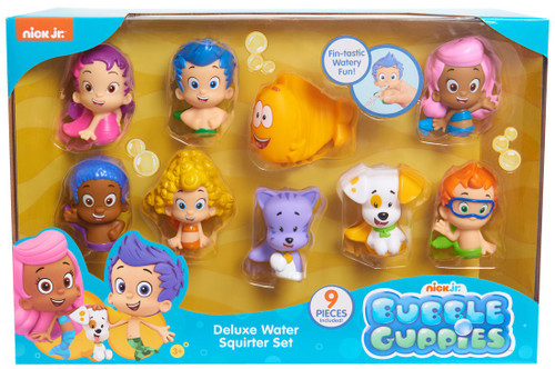 Bubble Guppies Gil, Gobby, Oona, Bubble Puppy, Deema, Molly, Nonny, Mr. Grouper & Bubble Kitty Bath Squirter 9-Pack