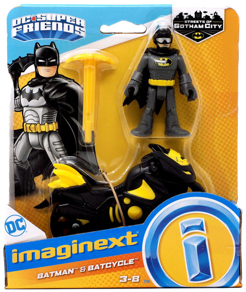 Fisher Price DC Super Friends Imaginext Gotham City Batman & Batcycle 3-Inch Figure Set [Black & Yellow]