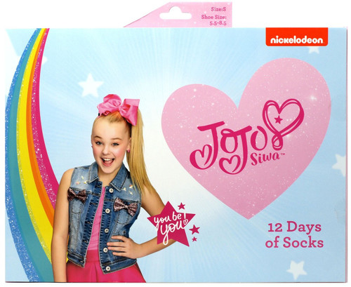 12 Days of Socks Kids JoJo Siwa 12-Pack [Size: Large, Shoe Size: 3 - 10]