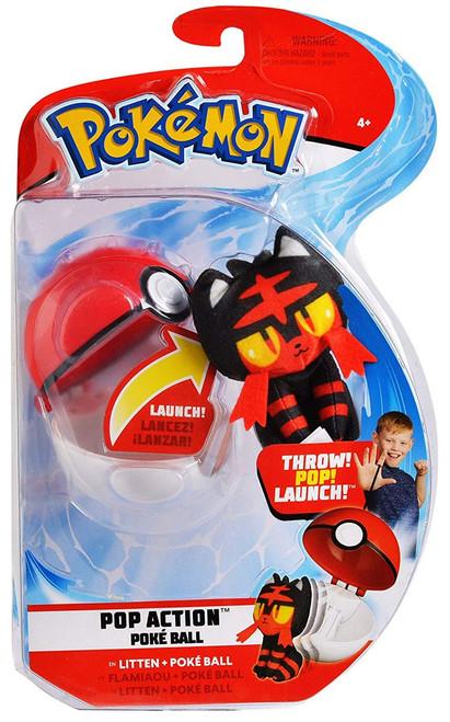Pokemon Pop Action Poke Ball Litten & Poke Ball Throw Poke Ball Plush