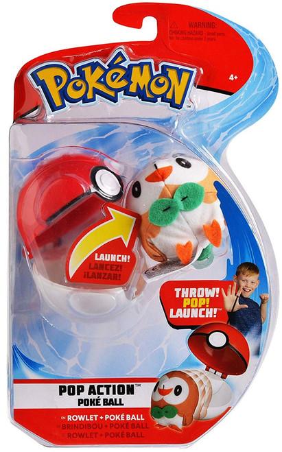 Pokemon Pop Action Poke Ball Rowlet & Poke Ball Throw Poke Ball Plush
