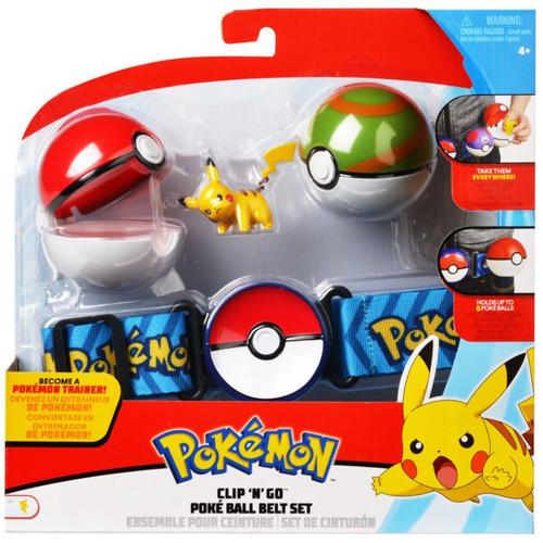 Pokemon Pikachu with Poke Ball & Nest Ball Clip 'N' Go Poke Ball Belt Set