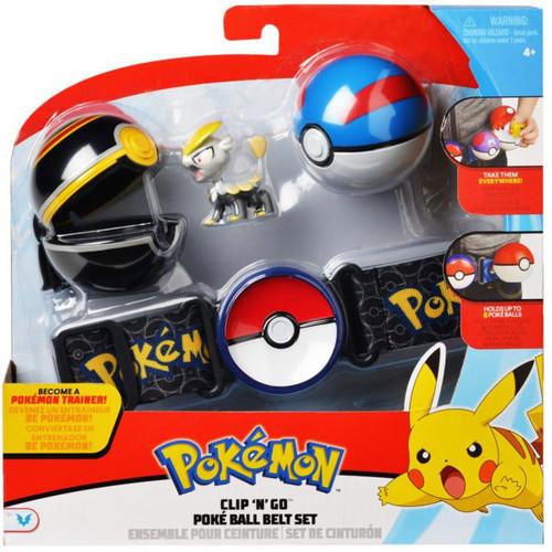 Pokemon Jangmo-o with Great Ball & Luxury Ball Clip 'N' Go Poke Ball Belt Set