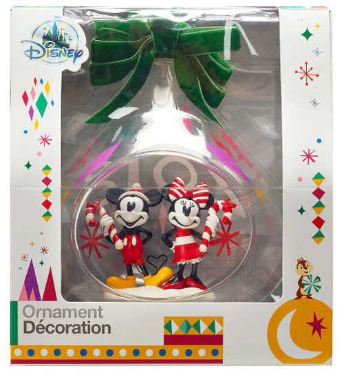 Disney Mickey Mouse Mickey and Minnie Mouse Holiday Glass Drop Exclusive Ornament