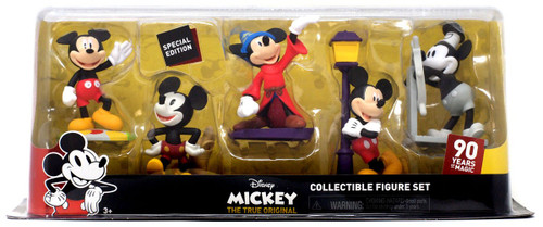 Disney Mickey the True Original 90 Years of Magic Steamboat Willie, Sorcerer's Apprentice, Clubhouse Mickey, Technicolor Mickey, & New Shorts Mickey. 3-Inch Figure 5-Pack