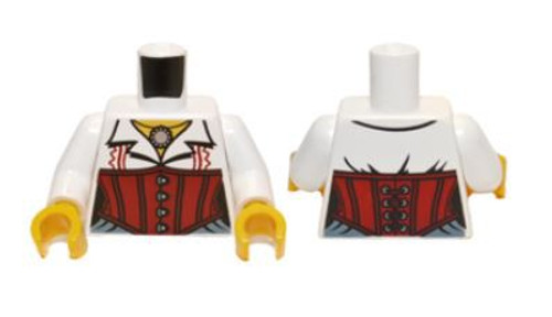 LEGO Female Blouse with Necklace and Red Corset Loose Torso [Loose]