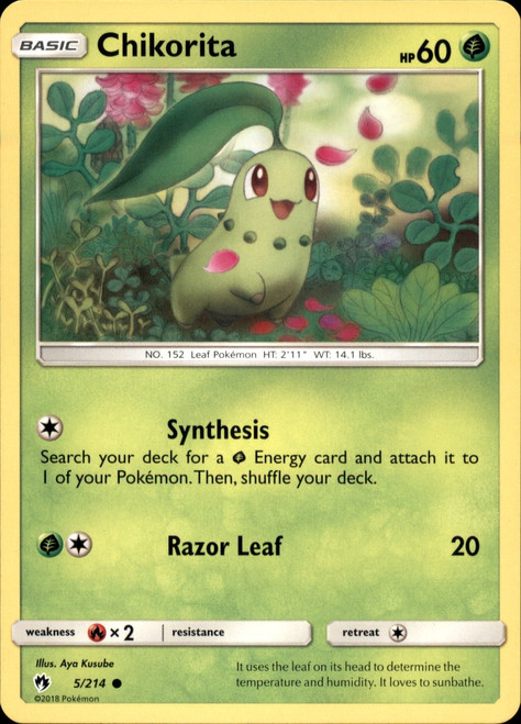 Pokemon Trading Card Game Lost Thunder Common Chikorita #5