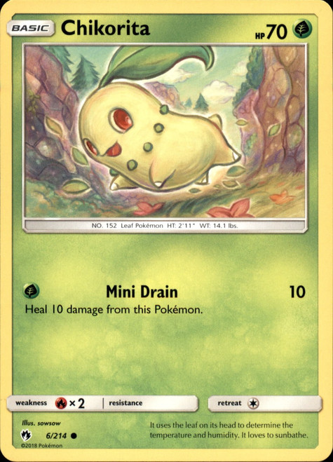 Pokemon Trading Card Game Lost Thunder Common Chikorita #6