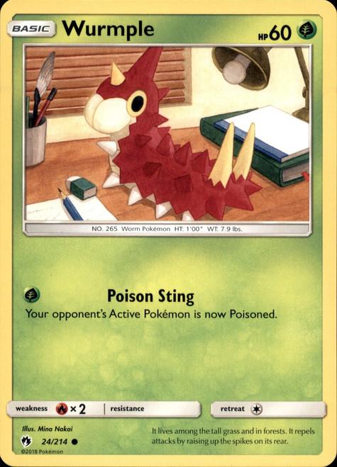 Pokemon Trading Card Game Lost Thunder Common Wurmple #24