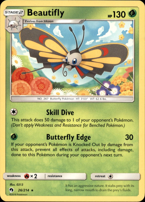 Pokemon Trading Card Game Lost Thunder Rare Beautifly #26