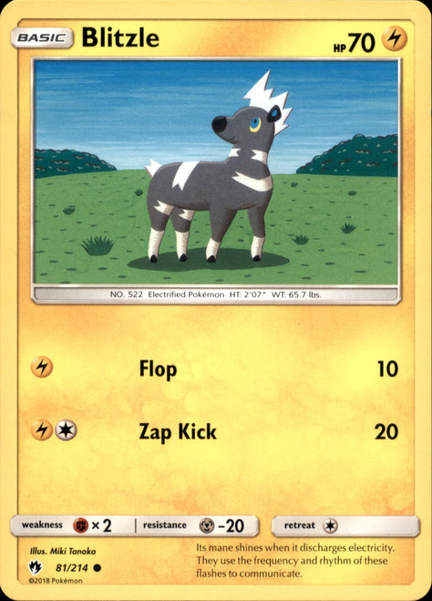 Pokemon Trading Card Game Lost Thunder Common Blitzle #81